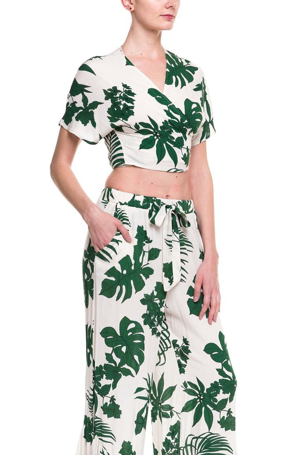 Lush Leaf Printed Top - Front Full Image
