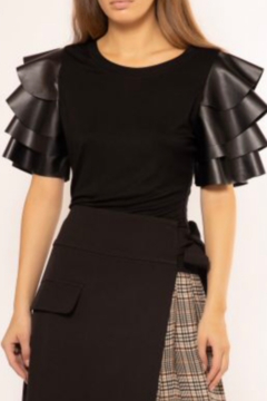 Shoptiques Product: Leather Angel Sleeve Top