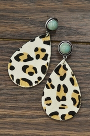 JChronicles Leather-Animal-Print Natural-Turqoise Post-Earrings - Product Mini Image