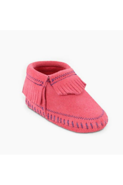 Minnetonka Leather Baby Riley Pink Moccasins - Product List Image