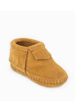 Minnetonka Leather Baby Riley Taupe Moccasins - Product List Image