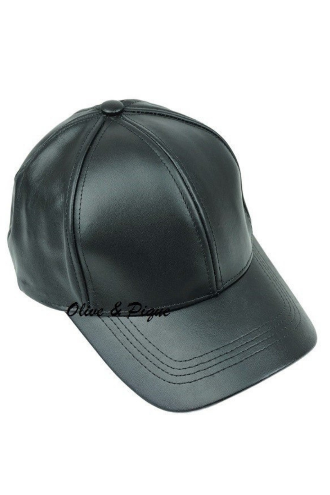 Olive & Pique Leather Baseball Cap - Main Image