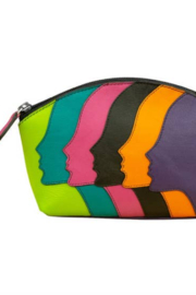 ILI Leather Faces Cosmetic Bag - Front cropped