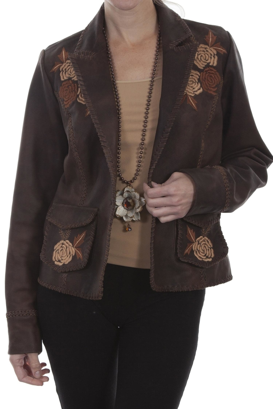 Scully Leather Floral Blazer - Main Image