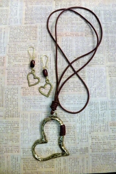 Mimi's Gift Gallery Leather Heart Necklace-Set - Product List Image
