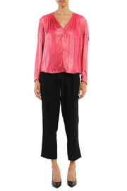 Current Air Leather-like V Neck Blouse - Product Mini Image