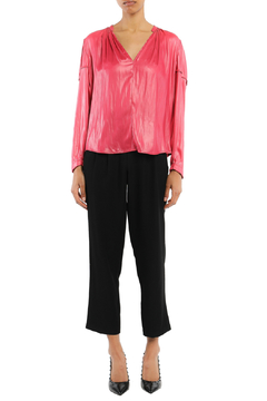 Shoptiques Product:  Leather-like V Neck Blouse