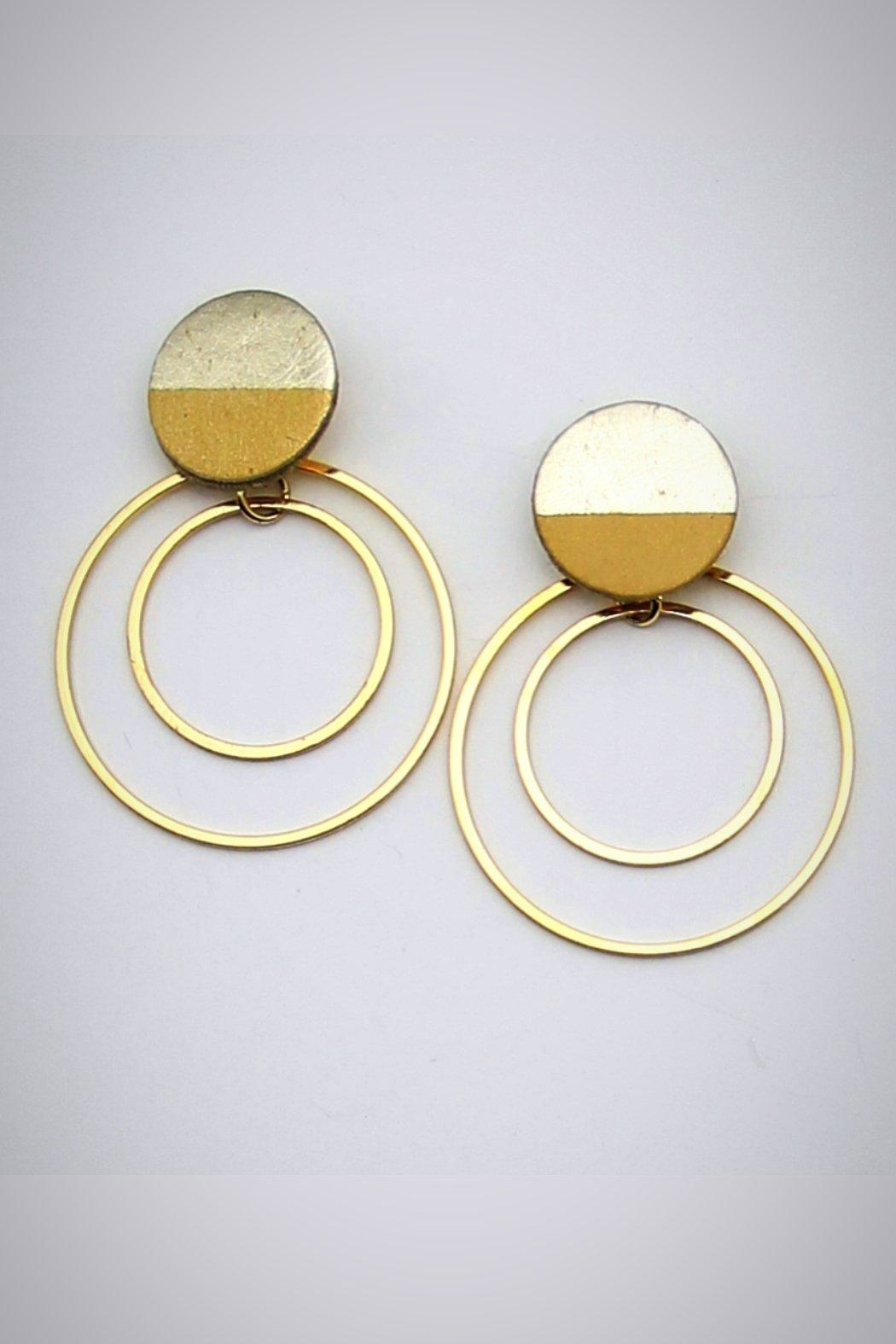 Embellish Leather Moon Earrings - Front Cropped Image