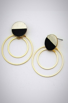 Shoptiques Product: Leather Moon Earrings