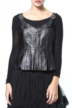 Madonna & Co Leather Peplum Top - Product List Image