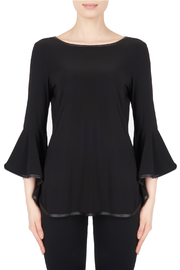 Joseph Ribkoff Leather Piping Bell Sleeve Top - Product Mini Image