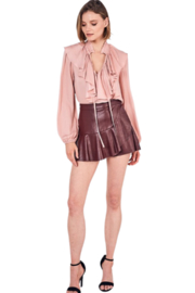 Do & Be Leather Ruffle Skort - Side cropped