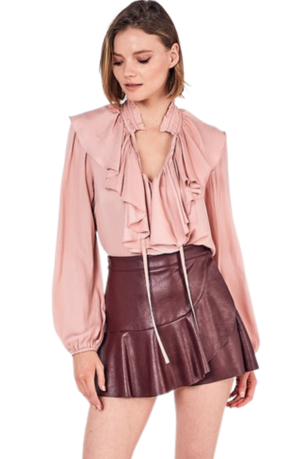 Do & Be Leather Ruffle Skort - Front Cropped Image