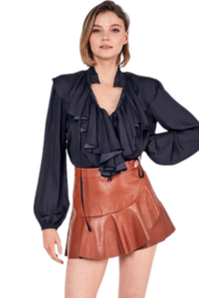 Do & Be Leather Ruffle Skort - Front cropped
