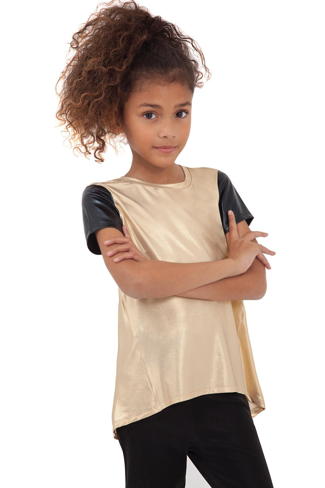MIA New York Leather Sleeve Tee - Front Cropped Image