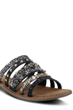 Azura Leather slide sandal featuring a beautiful handcrafted sequin, rhinestone, and gemstone applique with tonal stitchwork. - Product List Image