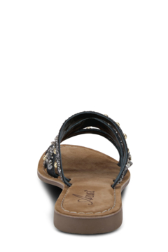 Azura Leather slide sandal featuring a beautiful handcrafted sequin, rhinestone, and gemstone applique with tonal stitchwork. - Alternate List Image