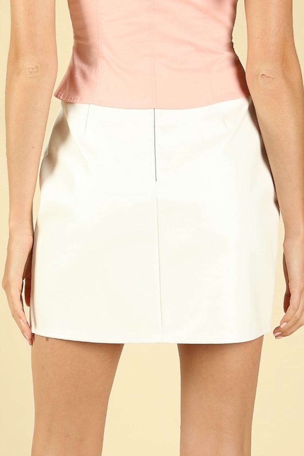 Honey Punch Leather Slit Front Skirt - Front Full Image