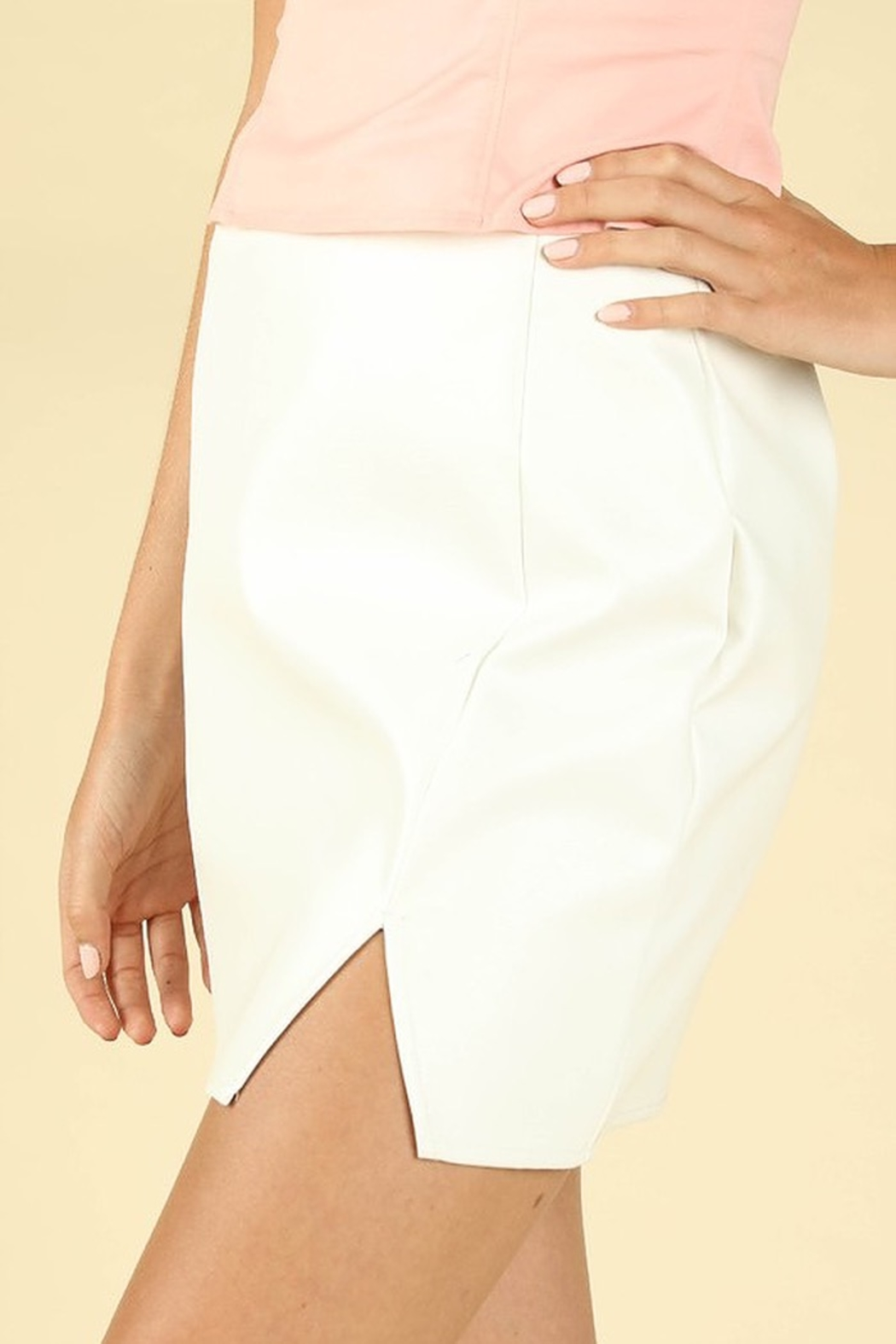Honey Punch Leather Slit Front Skirt - Side Cropped Image