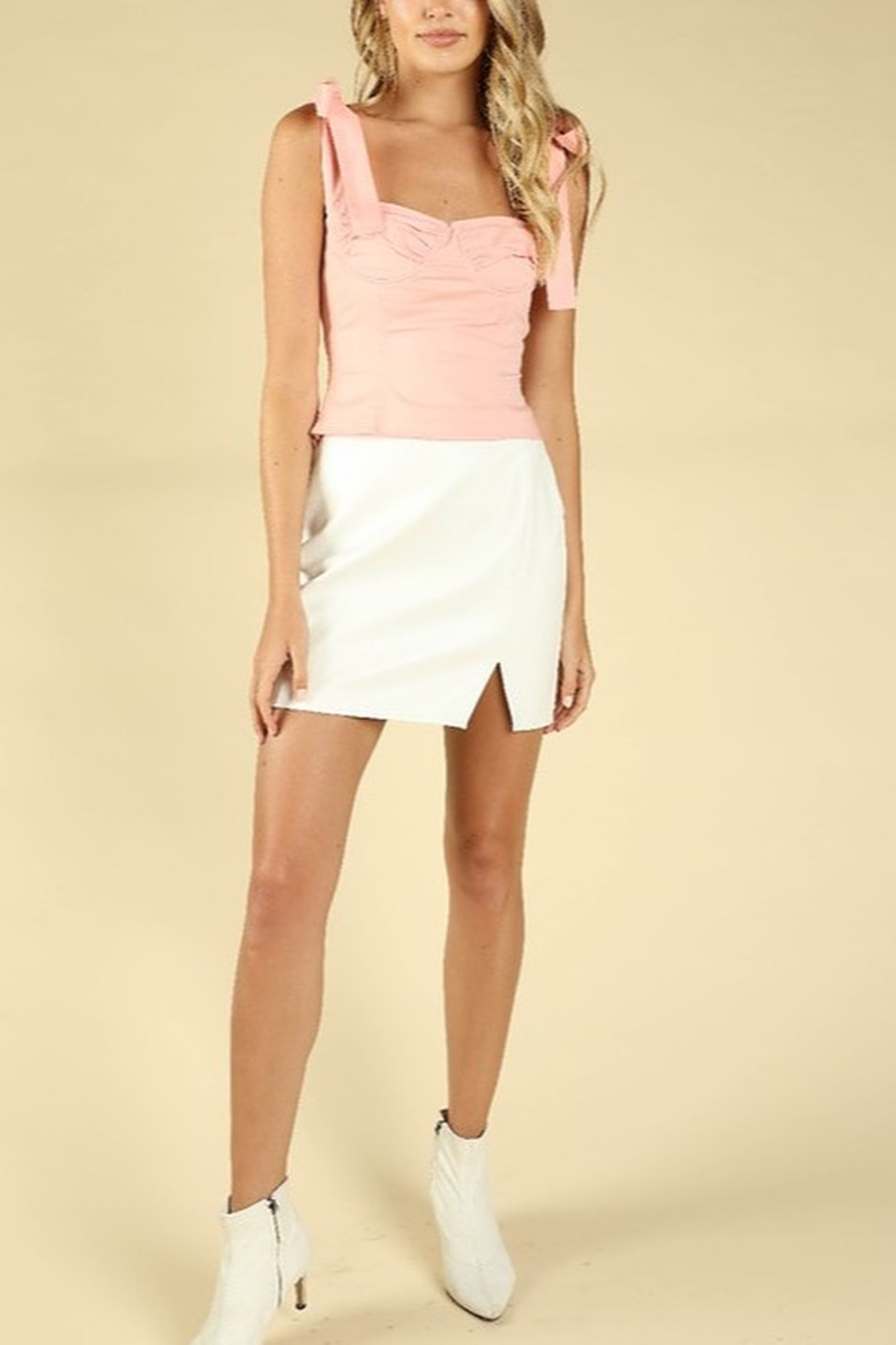 Honey Punch Leather Slit Front Skirt - Front Cropped Image