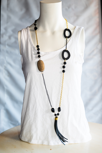 Handmade by CA artist Leather Tassel Drop Chain Necklace from California by KnotAllAboutKnit — Shop