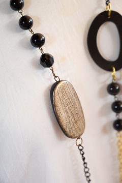 Handmade by CA artist Leather Black/Gold Chain, Tassel Drop Necklace - Alternate List Image