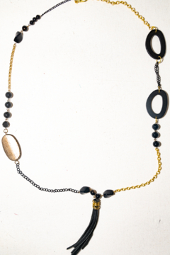 Handmade by CA artist Leather Black/Gold Chain, Tassel Drop Necklace - Product List Image