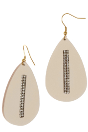 Accessorizit Leather Teardrop w crystal inset earring - Product Mini Image