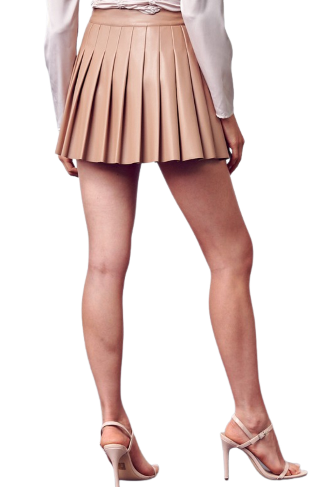 Do & Be Leather Tennis Skirt - Back Cropped Image