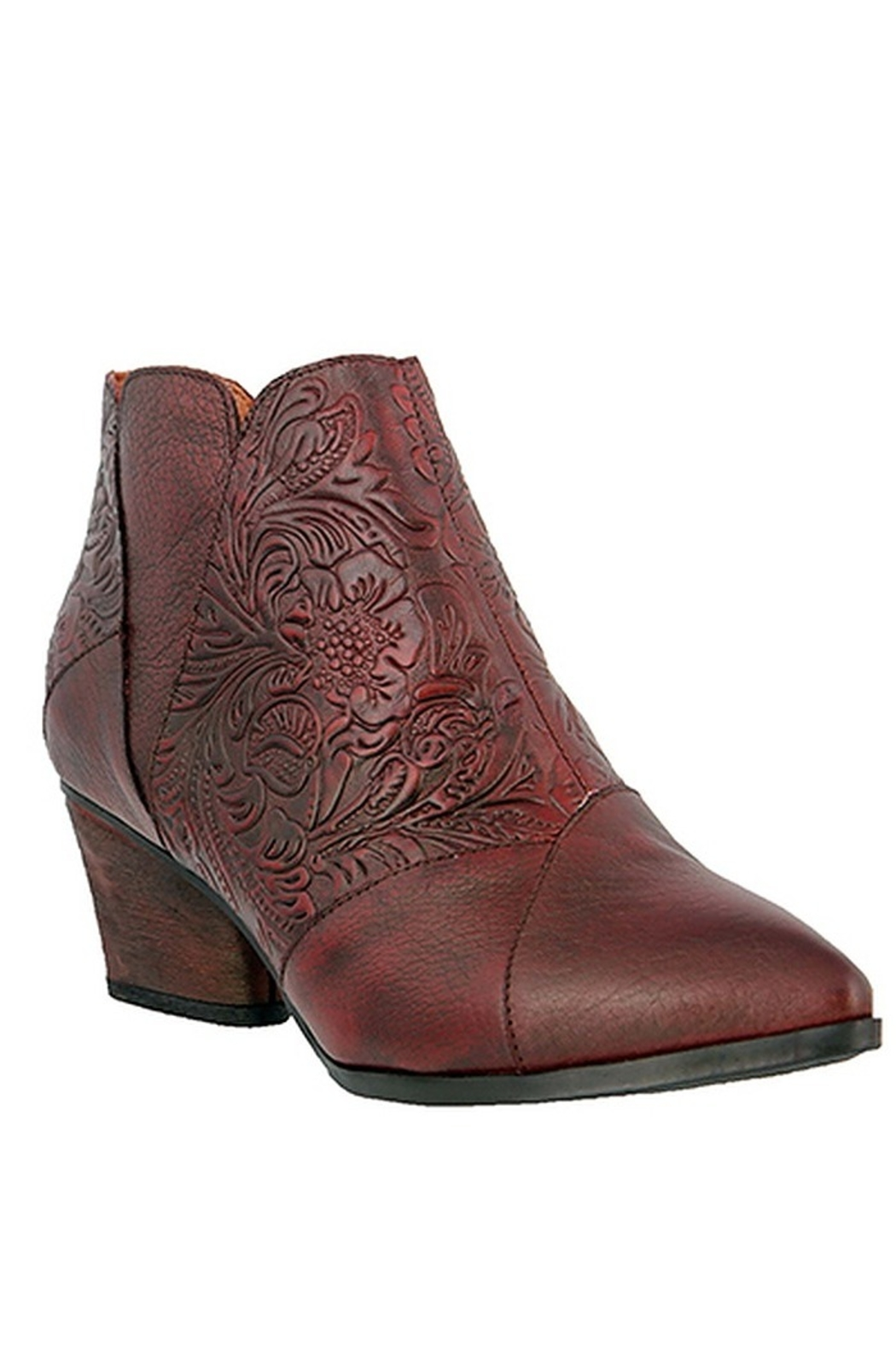 Spring Footwear Leather Tooled Bootie - Front Cropped Image