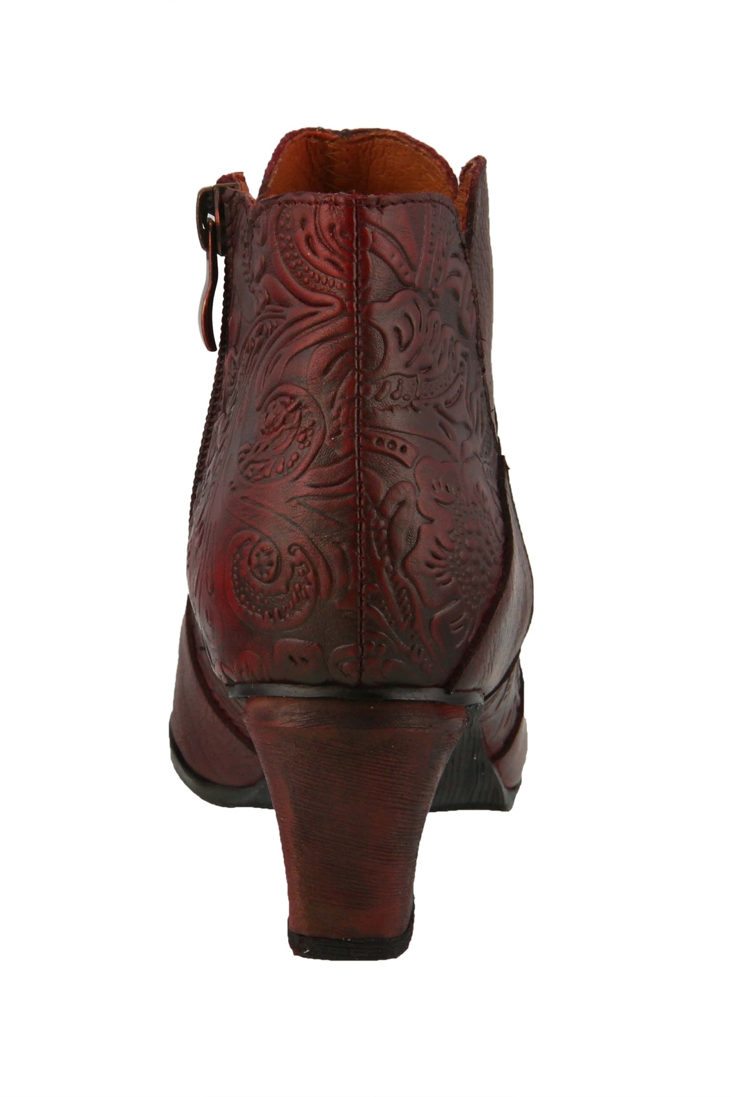 Spring Footwear Leather Tooled Bootie - Front Full Image