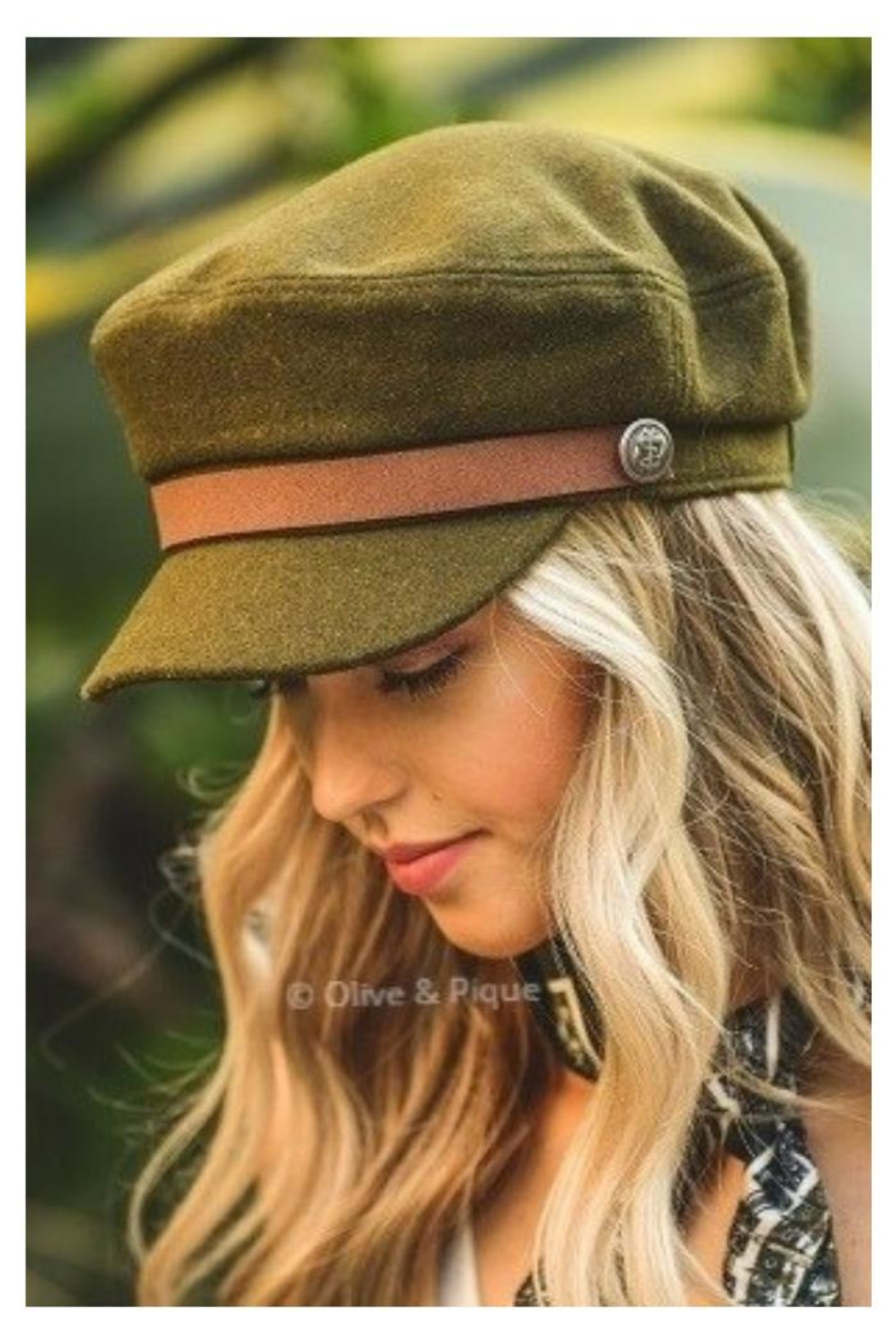Olive & Pique Leather Trim Cap - Main Image