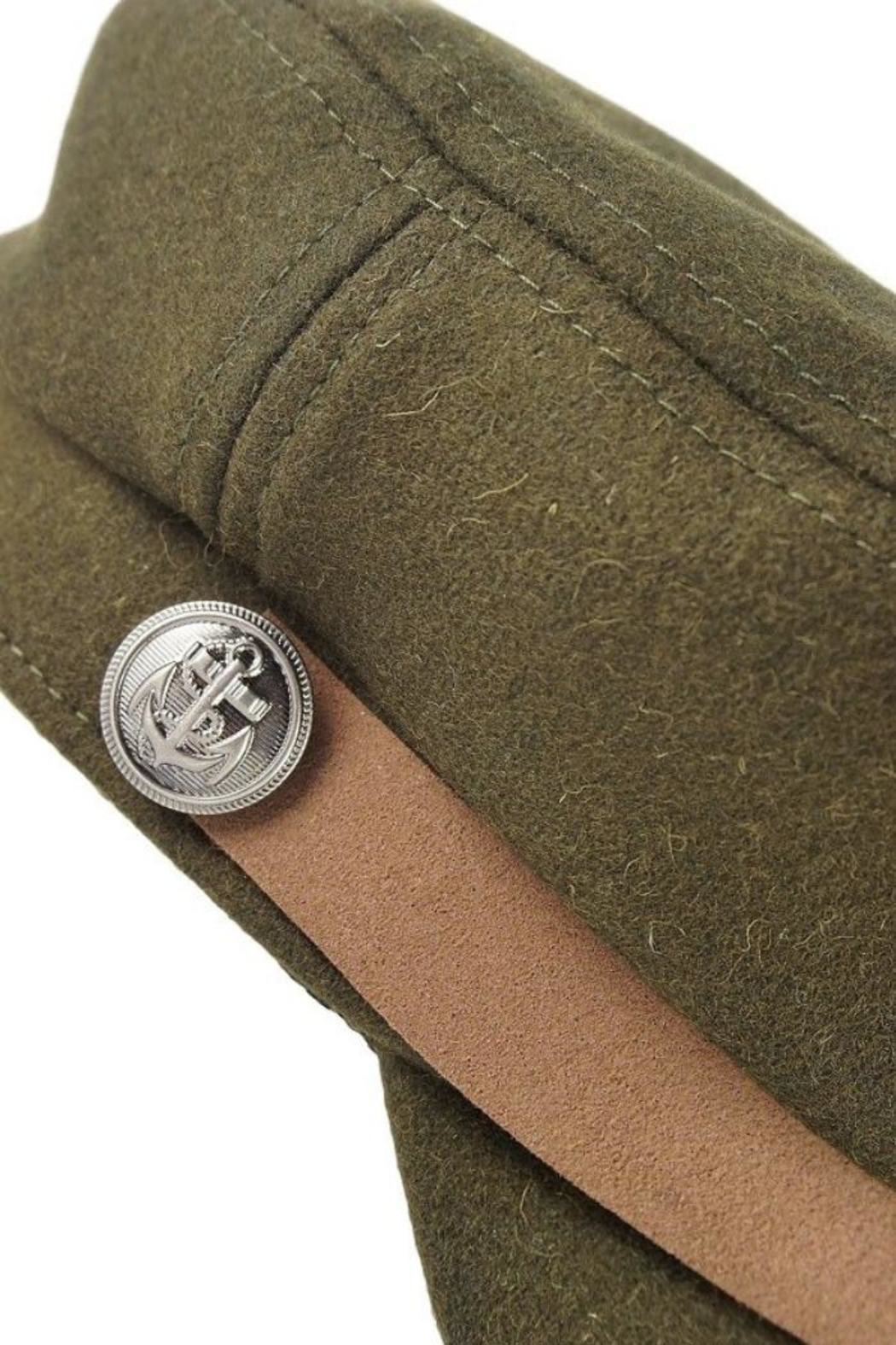Olive & Pique Leather Trim Cap - Back Cropped Image