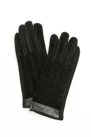 Look by M Leather trimmed chenille gloves - Product Mini Image