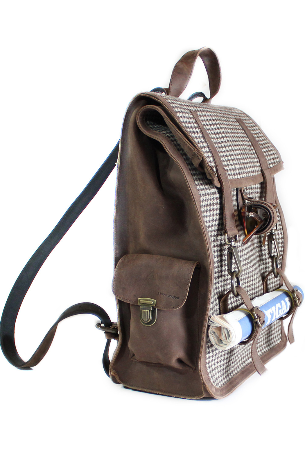Kjore Leather/Wool Backpack - Side Cropped Image