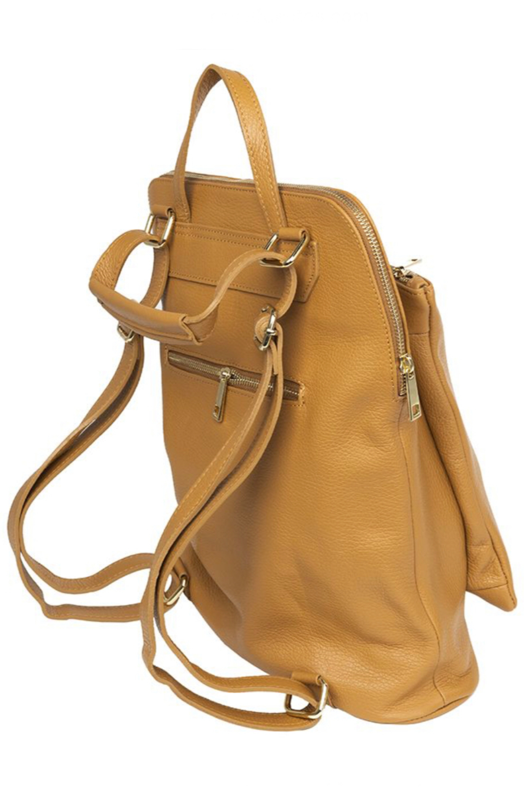 German Fuentes  Leather Zipper Backpack - Front Cropped Image