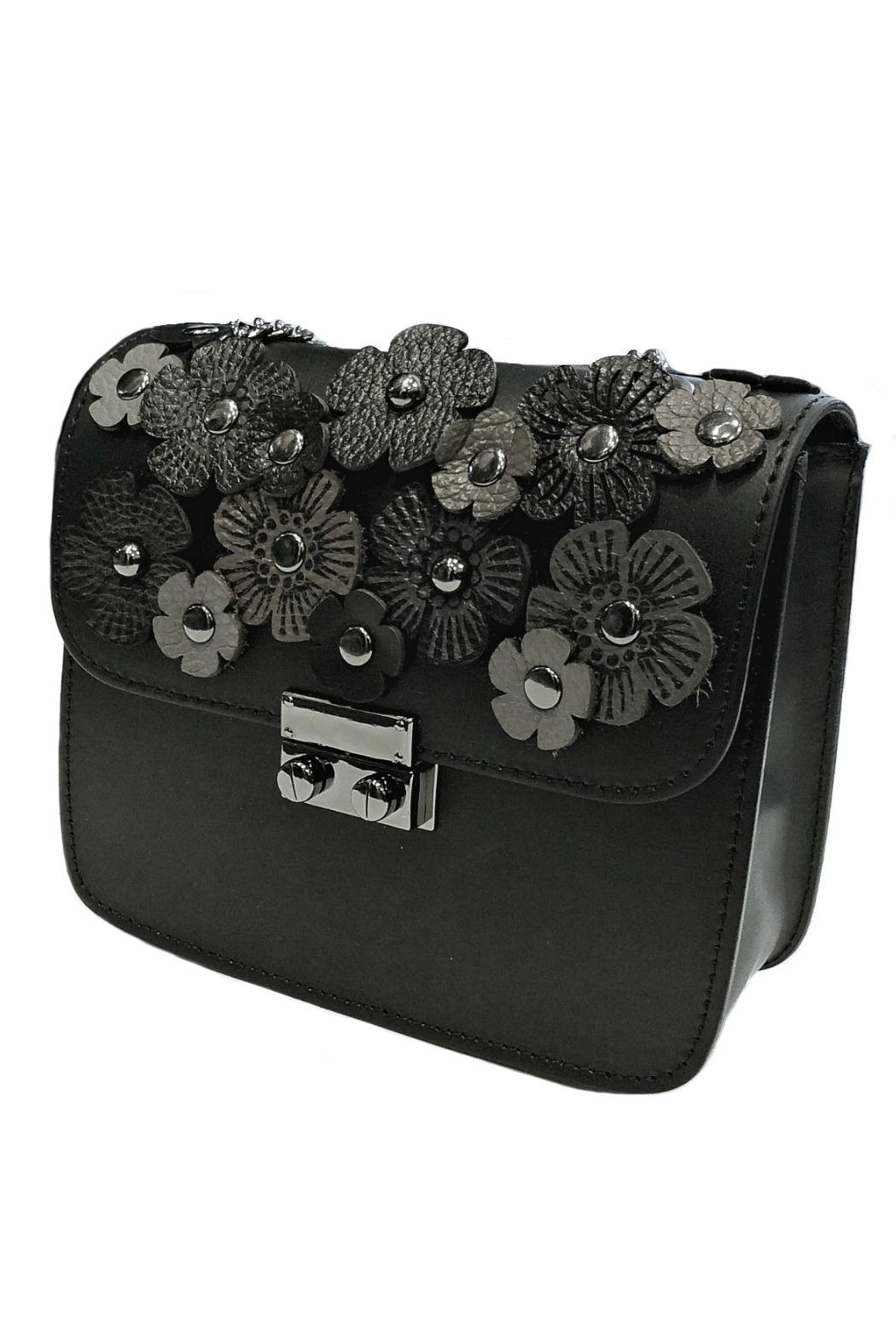 Leather Country Flower Leather Bag - Front Full Image