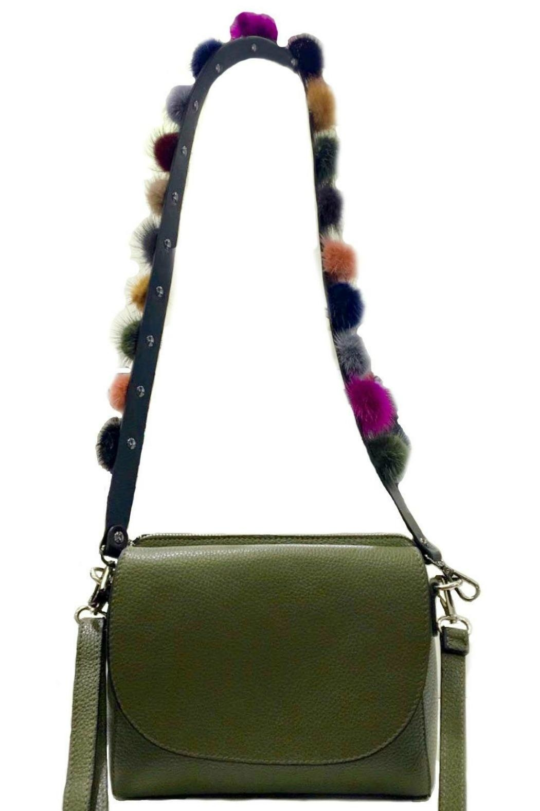 Leather Country Pompom Bag Strap - Front Full Image