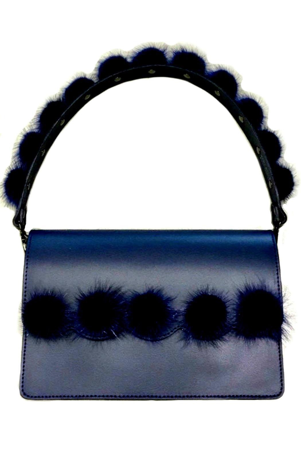 Leather Country Pompom Bag Strap - Front Cropped Image