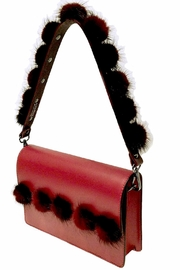 Leather Country Pompom Bag Strap - Front cropped