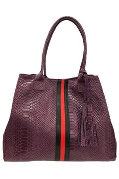 Leather Country Purple Embossed Tote - Product List Image