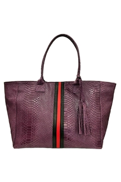 Leather Country Purple Embossed Tote - Alternate List Image