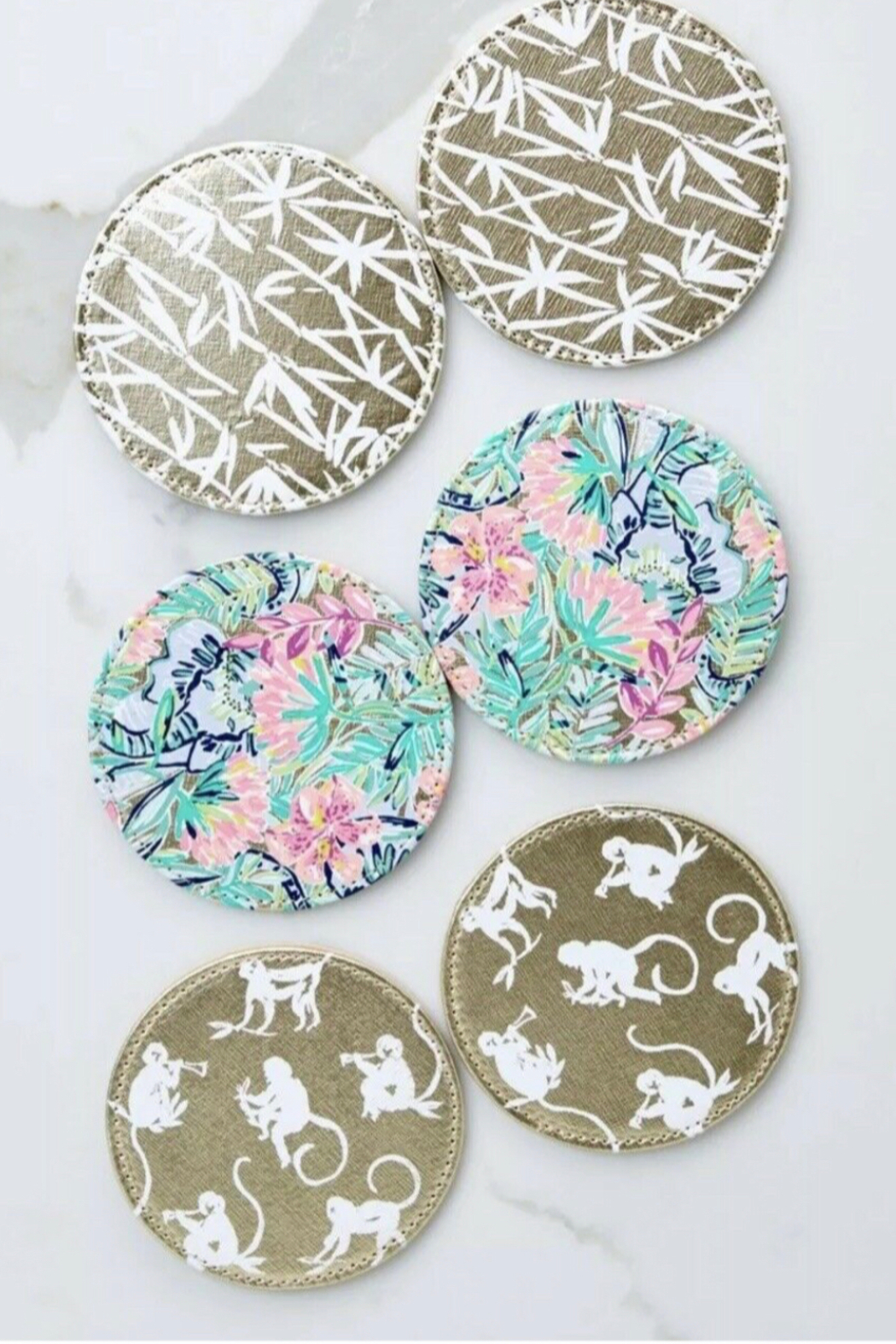 Lilly Pulitzer  Leatherette Coaster Set (6 Assorted) - Front Full Image