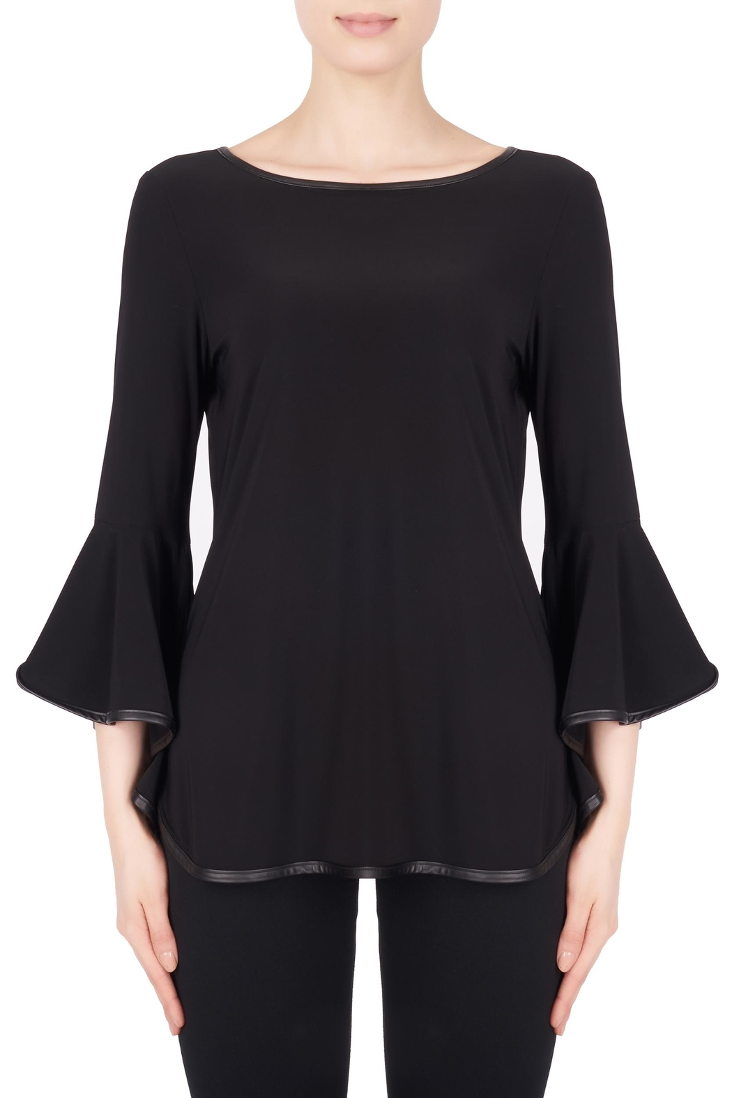 Joseph Ribkoff Leatherette Trim Top - Main Image