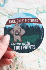 Sentinel Supply Leave Only Footprints Cute Camping Sasquatch Sticker - Product Mini Image
