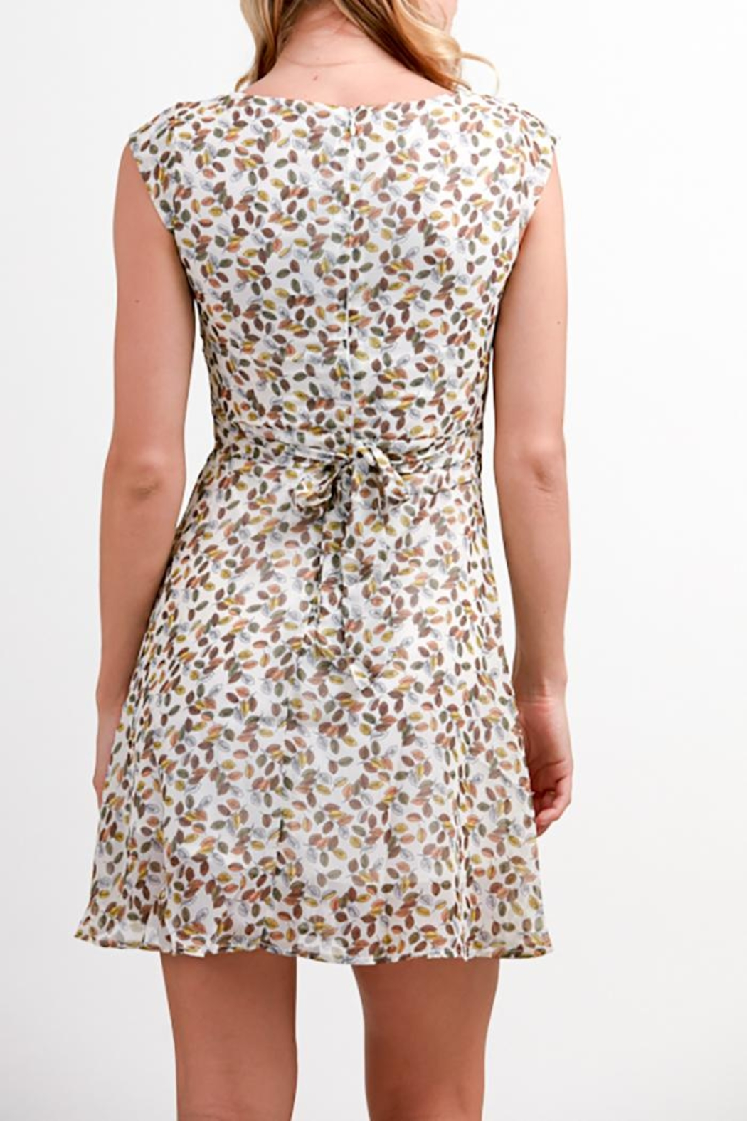Fashion Pickle Leaves Print Dress - Front Full Image