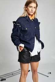 LeBRAND LEATHER SHORTS - Front cropped