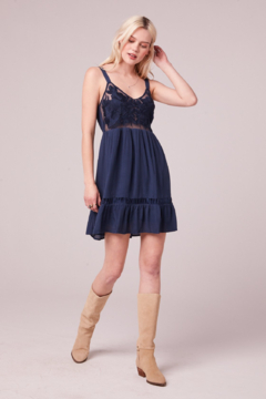 Band Of Gypsies LECCE NAVY EMBROIDERED MESH MINI DRESS - Alternate List Image