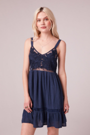Band Of Gypsies LECCE NAVY EMBROIDERED MESH MINI DRESS - Product Mini Image