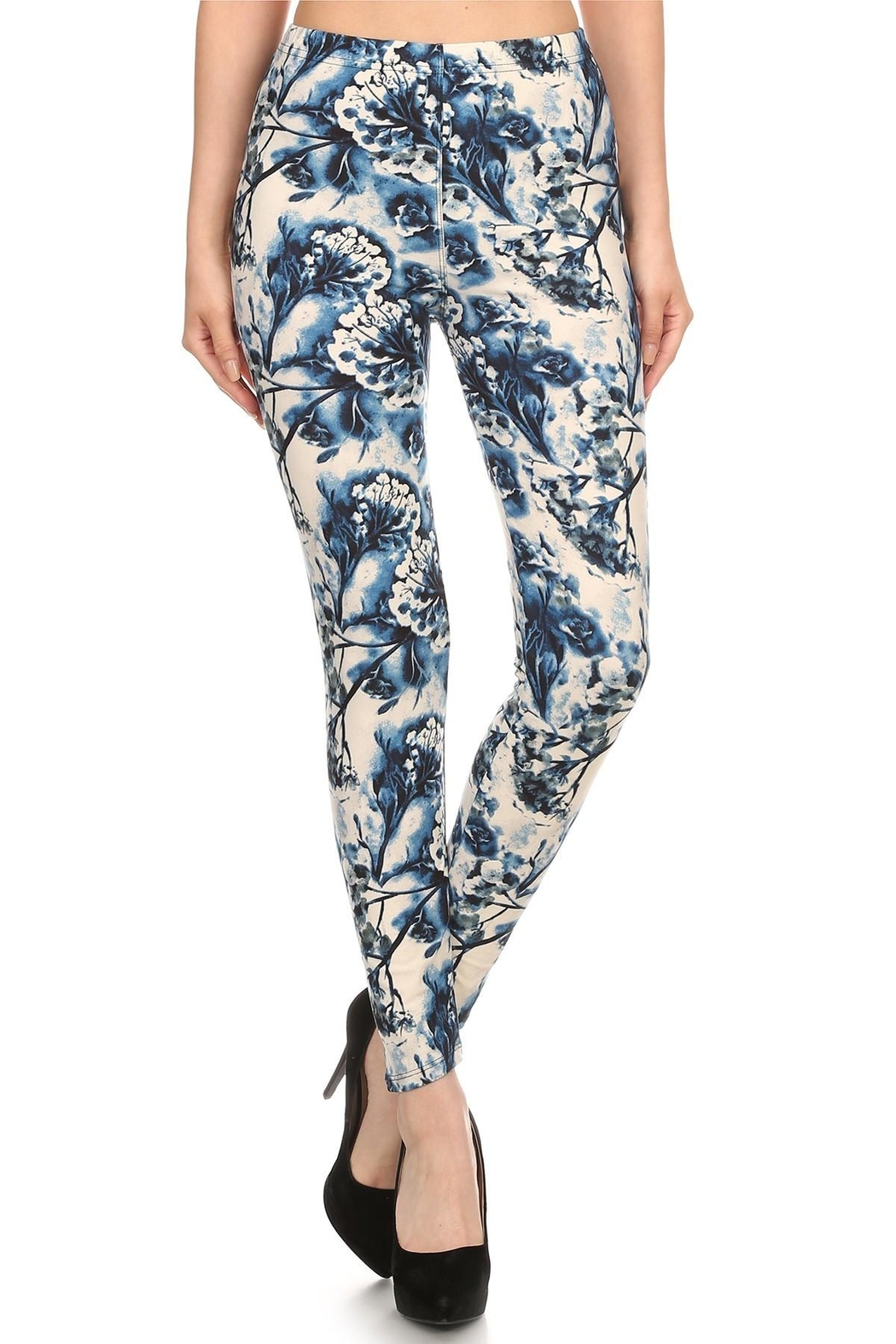 Leg Avenue Blue Floral Leggings - Front Cropped Image